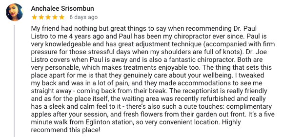 review listro toronto chiropractor